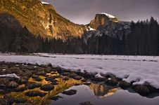 Snow Covered Half Dome At Sunset Stock Photos