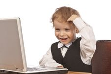 Free Little Child And Laptop. Stock Image - 18731641