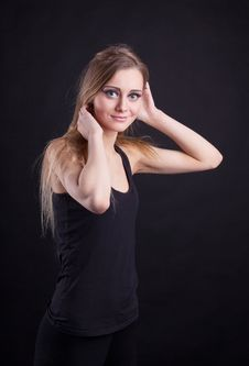 Free Young Beauty Blond Girl In Black Tank Top Royalty Free Stock Photography - 18732247