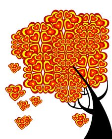 Free Graphic Tree Of Love With Hearts Stock Photos - 18732793
