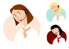 Free Set Of 3 Call-center Girls Royalty Free Stock Photos - 18732928