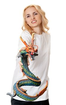 Free Beautiful Girl With A Wooden Dragon Stock Photo - 18733440