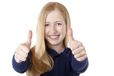 Free Young Beautiful Smiling Woman Shows Both Thumbs Up Stock Photography - 18733552