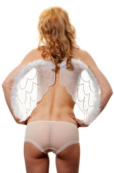 Naked Girl With Angel Wings Stock Image