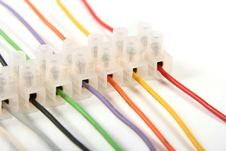 Closeup Of Colorful Electric Wires In Connectors Royalty Free Stock Photography