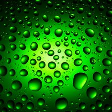 Free Green Water Drops Background Royalty Free Stock Image - 18734626