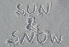 Free Handwriting Sun & Snow Royalty Free Stock Photography - 18734637