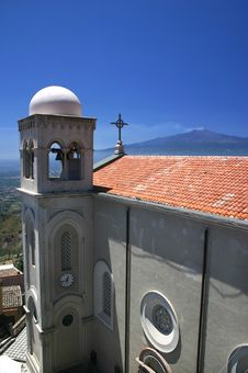 Sicilian Church And Mount Etna