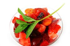 Free Fruit Dessert With Green Mint Stock Images - 18735254