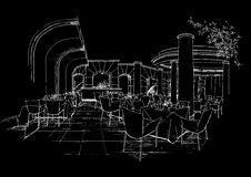 Interior Architecture Construction Landscape Sketc Royalty Free Stock Image