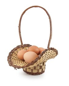 Free Easter Eggs In Brown Basket Royalty Free Stock Image - 18736186