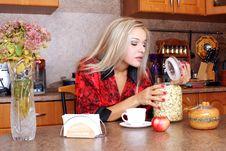 Free Woman Taken Jasmin Petals For Breakfast Royalty Free Stock Image - 18737306