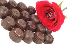 Rose And Chocolate Stock Photos