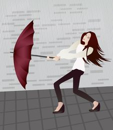 Girl With An Umbrella Stock Images