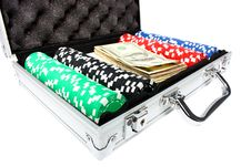 Free A Briefcase With Poker Chips And Money Royalty Free Stock Image - 18739306