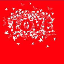 Free Inscription Love With Bird Stock Images - 18739734