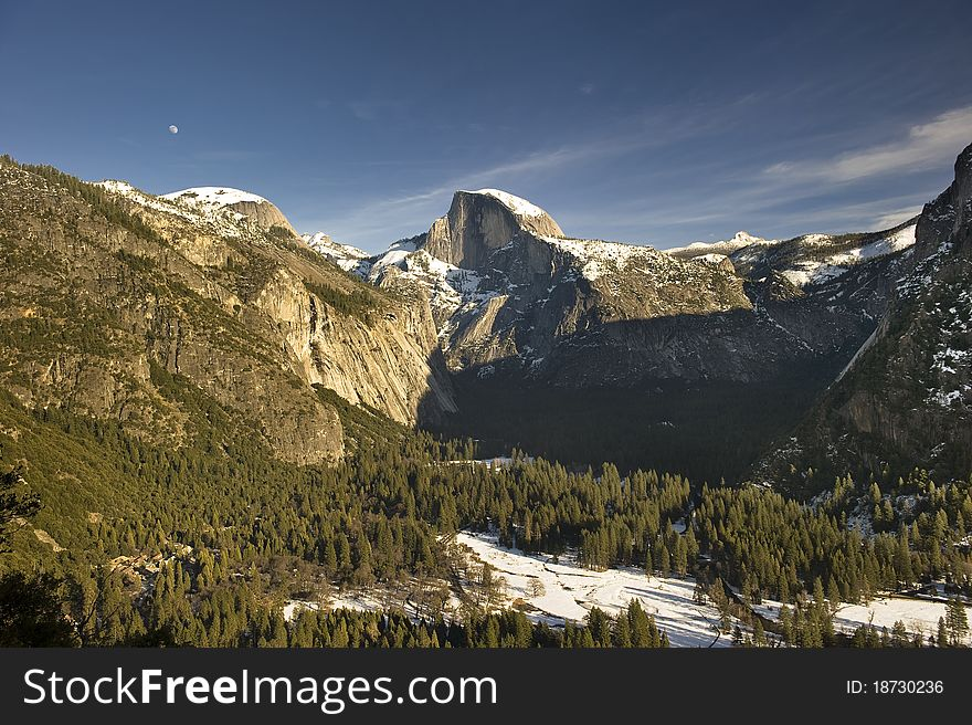 Snow covered Half Dome in Winter