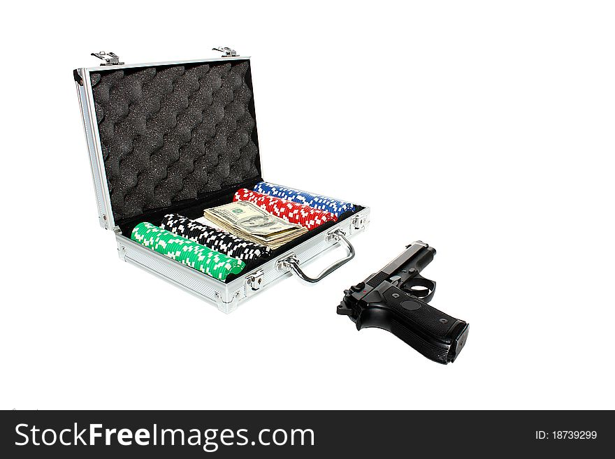 Briefcase ,money and poker chips