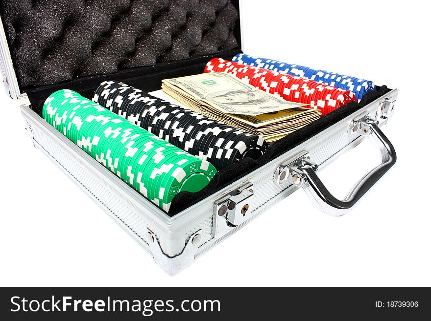 A briefcase with poker chips and money