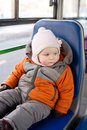 Free Adorable Baby Riding In City Bus On Seat Place Royalty Free Stock Photos - 18747678