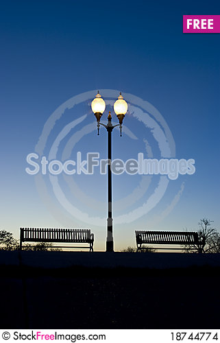 Free Park Benches In The Evening Stock Images - 18744774