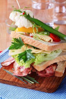 Bacon And Cheese Sandwich Stock Photos