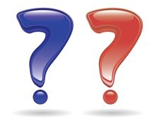Question Marks In Glossy Style Stock Images
