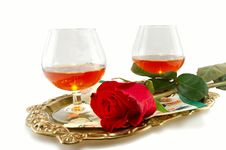Free Roses And Glasses Of Cognac Royalty Free Stock Photo - 18742245