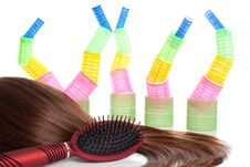Free Brown Hair, Comb And Hair Curlers | Isolated Royalty Free Stock Image - 18744846
