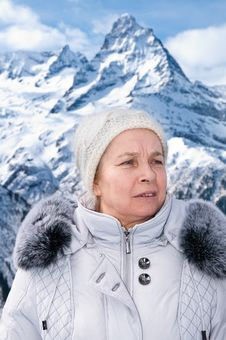 The Woman In Mountains. Stock Photography