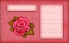 Free Pink Scrap Paper With Rose Stock Image - 18746721