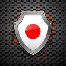 Free Metallic Shield With A Flag Of Japan Royalty Free Stock Image - 18746946
