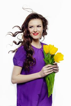 Free Lovely Girl With Yellow Tulips Stock Images - 18747044