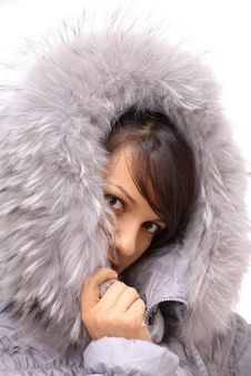 Beautiful Winter Woman Background Stock Photo