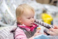 Free Adorable Baby Sit In Shopping Cart With Juice Royalty Free Stock Photo - 18747635