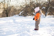 Adorable Baby Stay On Road Winter Park Royalty Free Stock Photography