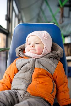 Free Adorable Baby Riding In City Bus Sitting Royalty Free Stock Image - 18747686