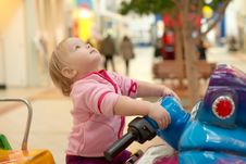 Adorable Baby Ride On Baby Motorcycle Royalty Free Stock Image
