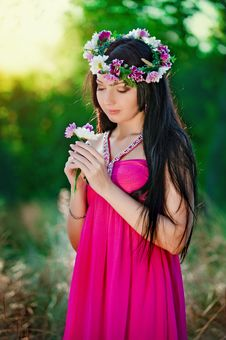 Free Girl And Flowers Stock Photography - 18748142