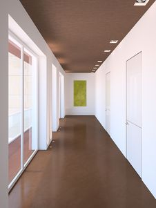 Free Long Modern Corridor Royalty Free Stock Photo - 18748355