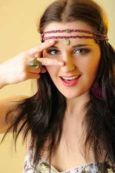 Pretty Fashion Woman In Hippy Style Royalty Free Stock Image