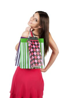 Free Portrait Of Stunning Young Woman Carrying Shopping Stock Images - 18748674