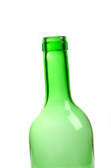Free One Empty Green Wine Bottle Isolated Stock Photography - 18748762