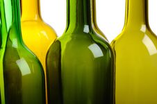 Free Many Empty Green Wine Bottles Isolated On White Royalty Free Stock Images - 18748799