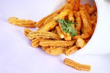 Free Yummy Potato Chips On White Background Royalty Free Stock Photography - 18748967