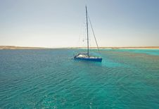 Free Large Sailing Yacht In A Tropical Lagoon Stock Images - 18750534