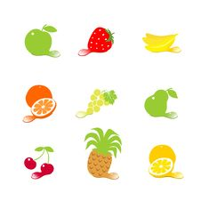 Set Fruit Icons With Drops Stock Photography