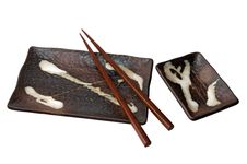 Free Isolated Brown Sushi Set With Chopsticks Royalty Free Stock Photography - 18751607