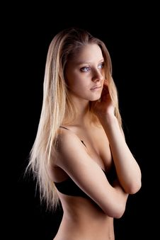Young Blond Girl In Lingerie - Sadness Emotion Stock Images