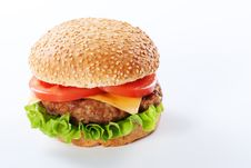 Free Cheeseburger With Tomatoes And Lettuce Royalty Free Stock Photo - 18754575